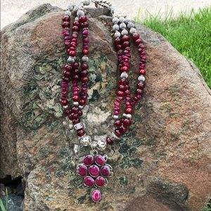 Sterling Silver Raw Ruby Necklace/Bracelet